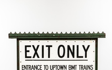 "Large Two-sided Cast Iron and Painted Tin New York City Subway ""Exit Only"" Sign"
