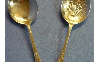 Large pair of Sheffield 1894 silver hallmarked fruit serving...