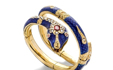 Large semi-rigid snake bracelet in yellow gold, blue enamel, diamonds and rubies