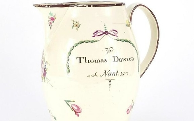 Late 18th century creamware ale jug, hand painted with