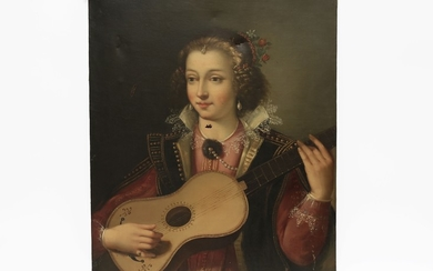 Maniera della pittura rinascimentale, XIX/XX secolo Portrait of a woman with guitar