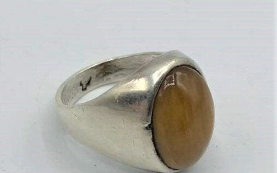 Men's Sterling Silver .925 Ring with Large Tiger's Eye