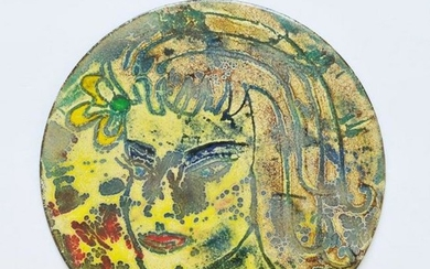 Mid-Century Modern Signed Enamel Tile Plate, Bust of a