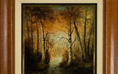 Mystery Signed Oil On Canvas Landscape Painting