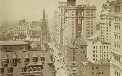 (NEW YORK CITY) View of Lower Broadway with Trinity Church, the American Surety Building, and the Manhattan Life Insurance Building.