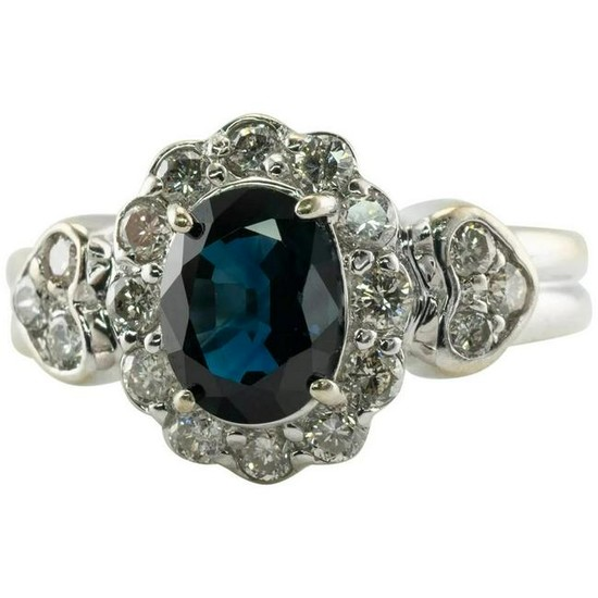 Natural Blue Sapphire Diamond Ring 14K Gold