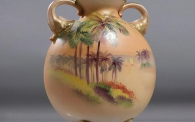 Nippon Hand Painted Tropical Scene Footed Vase, Handles