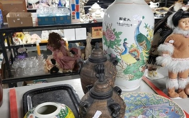 """Orientalwares incl Large """"Peacock"""" Vase, Charger, Pair of """"Dragon"""" Pottery Urns & Lacquerware"""