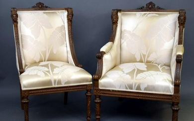 PAIR CARVED 19TH C. & UPHOLSTERED HIS/HER CHAIRS, HIS