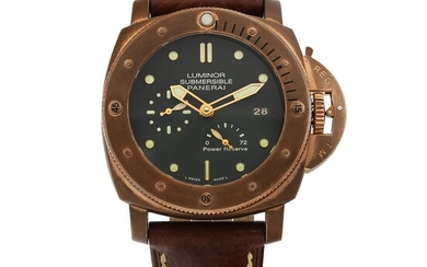 PANERAI | LUMINOR SUBMERSIBLE 1950 3-DAYS AUTOMATIC BRONZO, REF PAM00507 LIMITED EDITION BRONZE WRISTWATCH WITH DATE AND POWER-RESERVE INDICATION CIRCA 2011