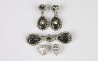 PAULINE TRIGERE COSTUME JEWELRY PIN AND MATCHING EARRINGS WITH ONE...