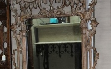 PICKLED PINE CHINESE CHIPPENDALE STYLE MIRROR; LABARGE