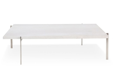 """""""PK-61A"""". Square coffee table with steel frame, white marble top. Manufactured and marked by Fritz Hansen. H. 33 cm. L./W. 120 cm."""