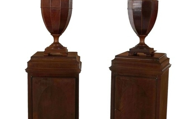*Pair Georgian style knife urns on pedestal cabinets (4pcs)