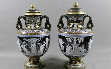 Pair Of Minton Style Two-Handle Porcelain Urns With