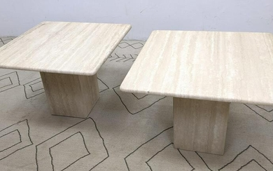 Pair Travertine Side End Tables with Rounded Edge. Ita