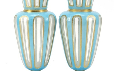 Pair of 19th century French blue opaline vases with gilt bor...