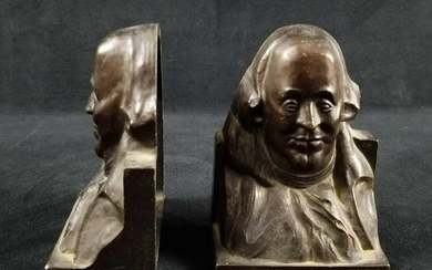 Pair of Benjamin Franklin Die Castings Bookends 1922