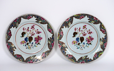 Pair of Chinese 18th century plates in porcelain with Famille Rose decor with flowers - diameter : 22,5 cm ||pair or 18th Cent. Chinese plates in porcelain with Famille Rose decor with flowers