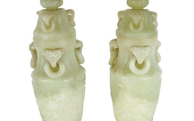 Pair of Chinese Soapstone Covered Vases