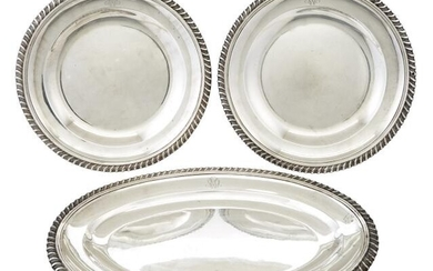 Pair of French Sterling Silver Dishes and Platter