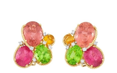 Pair of Gold, Gem-Set and Diamond Earclips