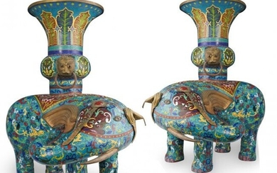 Pair of Large Chinese Cloisonne Elephant Vases