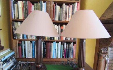Pair of Mahogany Column Form Table Lamps Electrified Working...