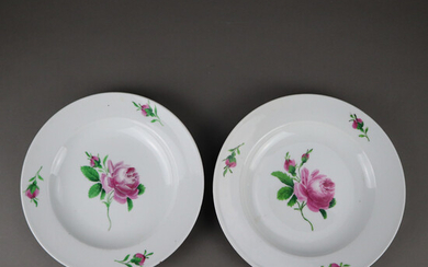 """Pair of PLATES - MEISSEN, 18th / 19th century, """"Red Rose"""" decor."""