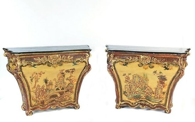 Pair of Venetian Style Chinoiserie Painted Consoles.