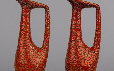 Pair of Vintage Zsolnay Red Eosin Large Crackle Ceramic