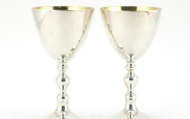 Pair of silver chalices with gilt interiors, by Marlow