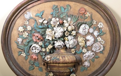 Polychrome Painted Carved Wood Wall Hanging FD1A