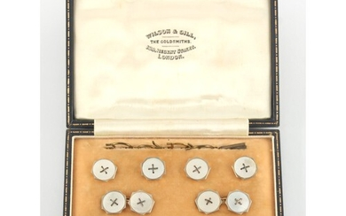 Property of a lady of title - a blue leather cased set of 9c...