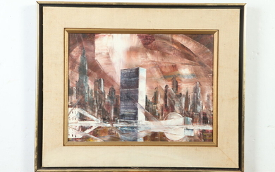 ROBERT LEBRUN (American, 1928-2013). CITYSCAPE, signed lower right. Oil on...