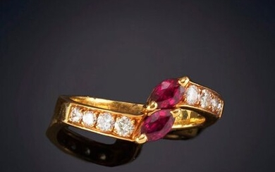 RUBY AND SHINY SIDE RING. Mounting in 19k yellow gold. Punched piece. Output: 360,00 Euros. (59.899 Ptas.)