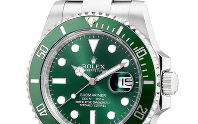 Rolex, Ref. 116610LV An attractive stainless steel diver's wristwatch with center seconds, date, bracelet, guarantee and fitted presentation box
