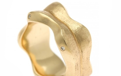 Ruben Svart: A diamond ring set with numerous brilliant-cut diamonds weighing a total of app. 0.18 ct., mounted in 14k gold with satin finish. Size app. 56.
