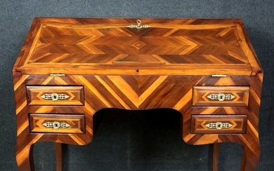 Scriban desk in noble wood marquetry - Louis XV Style - Wood