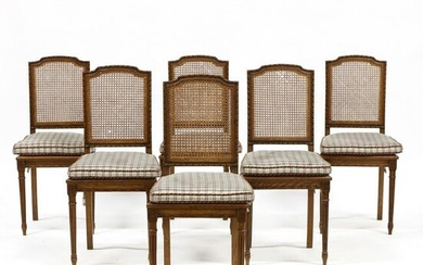 Set of Six Louis XVI Style Oak and Cane Dining Chairs