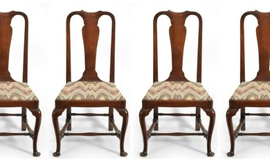 Set of four Queen Anne walnut side chairs, probably