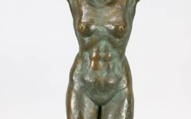 Severo Vescovi (1904-2000), Italian sculptor, standing female nude, green-brown patinated bronze, signed in the small plinth. ''Vero Vescovi''. Young woman standing ''en face'' on a rectangular plinth with her hands behind her head. Expressive nude...