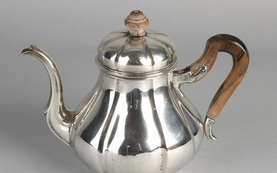 Silver teapot, 833/000, round lobed model with wooden