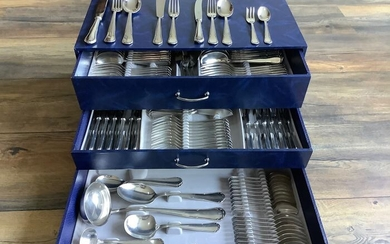 Solingen - Cutlery cassette - 12 people - 133 pieces - ALPACA 100 - Art Nouveau - Silverplate