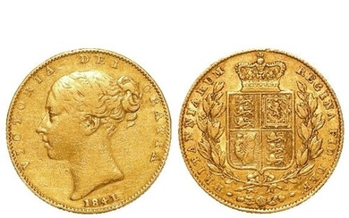 Sovereign 1841, rare date, F/GF