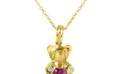 Stambolian Yellow Gold Small Teddy Bear Pendant with