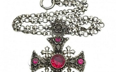 Sterling Crusader Cross Necklace with Ruby