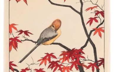TOSHI YOSHIDA Depicting a sparrow in a red maple tree. Unframed.