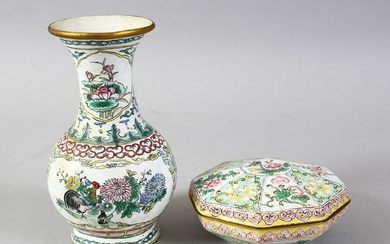 TWO 19TH / 20TH CENTURY CHINESE ENAMEL VASE & BOX AND