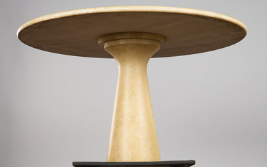 Table / dining table in the style of Angelo Mangiarotti, Travertine, Italy, 1970s